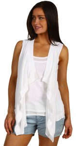 Michael Kors Double Layer Inset Draped Open Front 100% Cotton Hand Wash Length: 23 In Top White