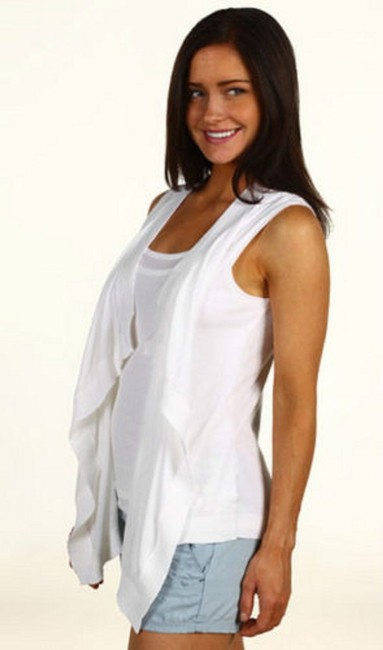 Michael Kors Double Layer Inset Draped Open Front Cotton Hand Wash Length: 23 In Top White
