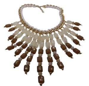 Other Glass, Cream & Brown Chroma Fashion Necklace in Goldtone w White Wrap w Free Shipping