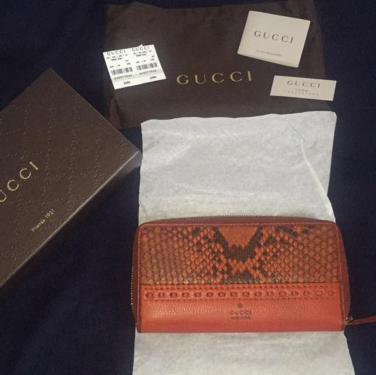 Gucci Python, Deep Orange And Black Clutch