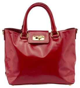 Prada Vernice Saffiano Patent Leather Satchel in Red
