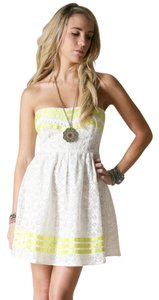 Flying Tomato short dress IVORY/YELLOW Lace Strapless Mini Coachella Boho on Tradesy