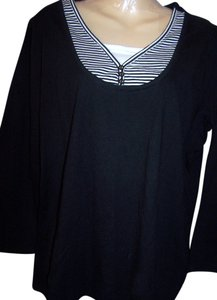 Basic Editions Blouse V-neck T Shirt black with some white