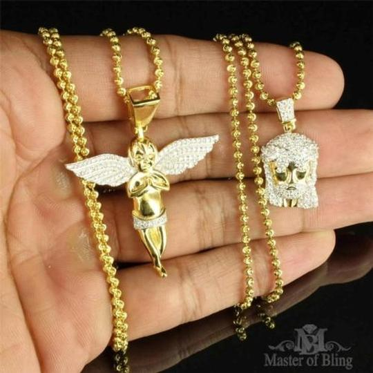 Other Classy Lab Diamond Sterling Silver Gold Finish Jesus Angel Chain Combo Pack Gift