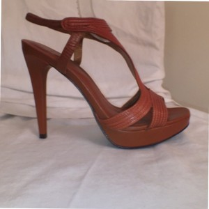Diane von Furstenberg Leather New Sandal Formal Designer Brown Platforms
