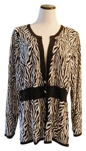 Adamo Animal Print Zebra Print Cardigan Plus-size Sweater
