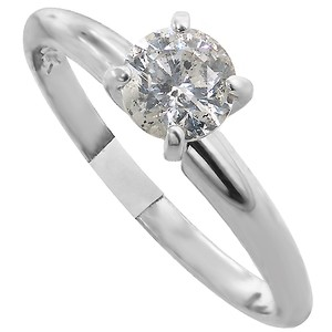 ABC Jewelry 14kt White Gold Solitaire Set With One Genuine Brilliant Cut Diamond
