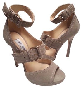 Jimmy Choo Buckle Strap Nubuck Leather Texturized Sandal Gray Khaki Pumps