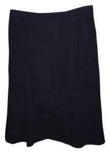 Ann Taylor Suede Midi Skirt Navy Blue