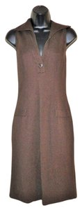 Kay Unger short dress Brown Sleeveless Collar Slit Stretchy on Tradesy