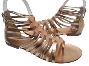 Jimmy Choo Multistrap Caged Flat Gold Sandals