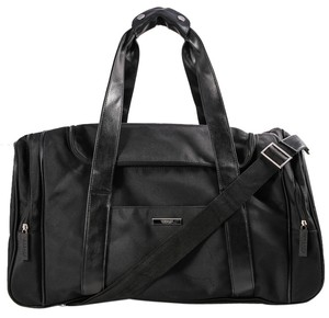 Versace Nylon Leather Duffle Black Travel Bag