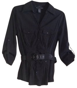 Antilia Femme Belted Tab-sleeve Comfortable Button Down Shirt Black