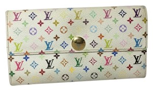 Louis Vuitton White Multi Color LV Sarah Monogram Bi Fold