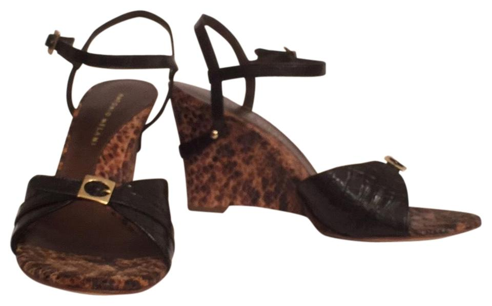 37ee2264ccc5 Antonio Melani Black Brown Nwot Embossed Leather Gator   Snake Sandals  Wedges