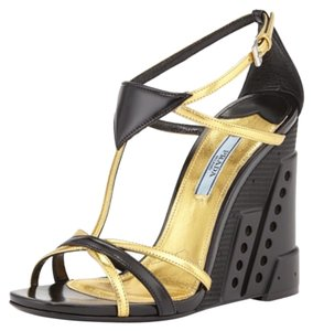 Prada Wedge Heels Black/ Gold Wedges