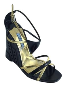 Prada Heels Summer Luxury Black/ Gold Wedges
