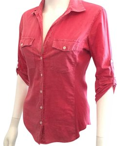 James Perse Classic Deep V Sexy Comfortable Cotton Button Down Shirt red