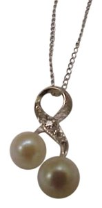 Other Estate Vintage Freshwater Pearl & Diamonds 14k White Gold Pendant and 14k Gold Necklace , Beautiful Piece!