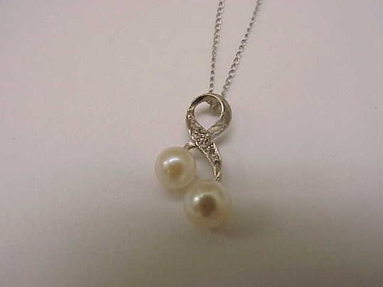 Other Estate Freshwater Pearl & Diamonds 14k White Gold Pendant Necklace