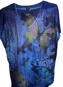 Basic Editions Casual T Shirt multi blues,black,with butterfly's