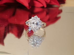 Gorgeous Silver Filled Cz Vintage Style Engagement Ring Size 6.5