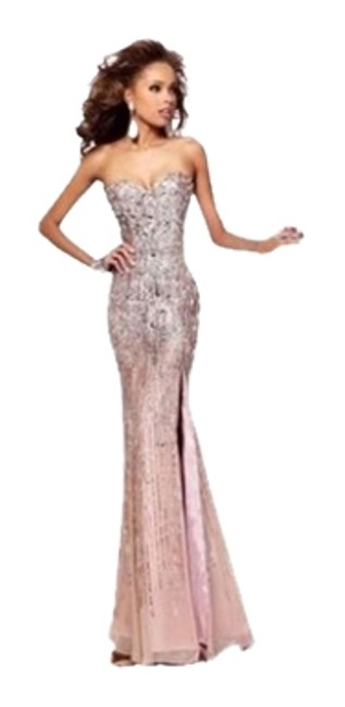 Item - Nude/Gold Long Formal Dress Size 4 (S)