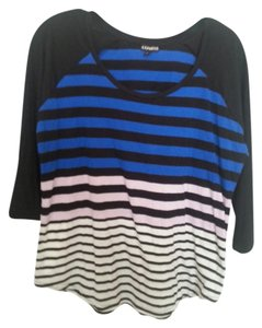 Express 3/4 Sleeve T Shirt Blue stripe