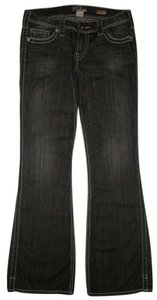 Silver Jeans Co. Back Flap Pockets Low Rise Boot Cut Jeans-Dark Rinse