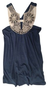 Veronica M Top Navy Blue with Beige lace detail