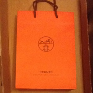 Hermès Hermes orange Paper Shopping Bag 8.25x11.25x3.5