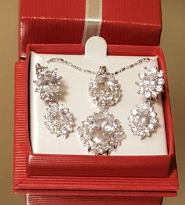 Bridal Cubic Zirconia Silver Filled Necklace Set