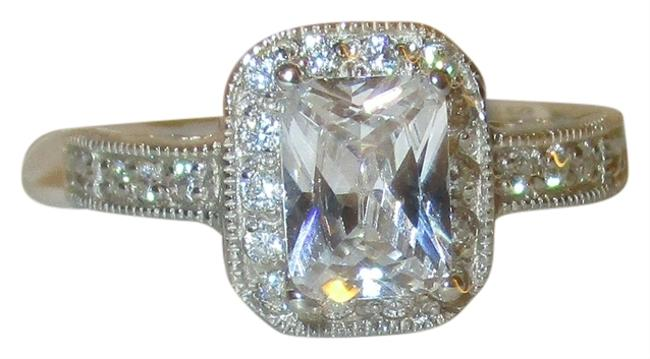 Item - Clear 925 Sterling Silver Emerald Cut Genuine Zircon Halo and Accents Engagement Or Wedding Size 5 6 7 8 9 10 Ring