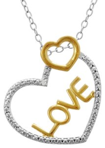 J Brand 925 Sterling Silver and 10K Gold Heart Shaped Love Necklace 18