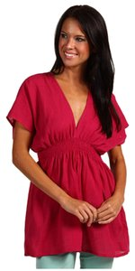 Michael Kors Drawstring Tie V-neckline Smocked Waistline 100% Cotton Length: 29 In Top BRGHT PINK