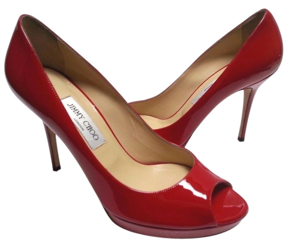 9794033582fe Jimmy Choo Patent Leather Peep-toe Platform Red Pumps Image 0 ...