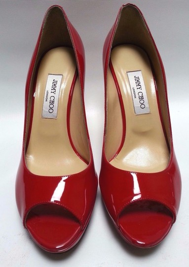 Jimmy Choo Patent Leather Peep-toe Platform Red Pumps