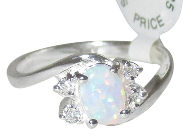 Item - White Opal 925 Sterling Silver Shaped Real Size 5 6 7 8 9 Ring