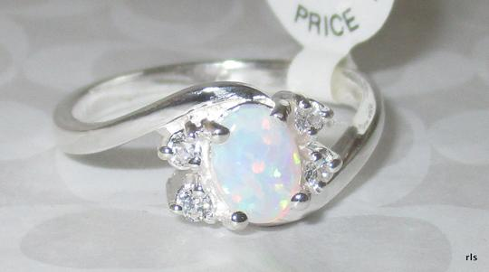 J Brand 925 Sterling Silver OVAL SHAPED REAL WHITE OPAL RING SIZE 5 6 7 8 9