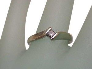 Estate Vintage 14k White Gold Engagment .18ct Diamond Ring ,1950's