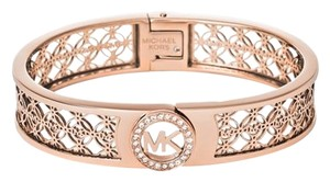 Michael Kors Michael Kors Rose Gold-Tone Open Logo Bangle Bracelet (boxed)
