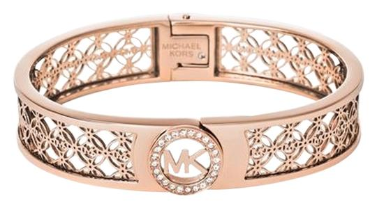 Preload https://img-static.tradesy.com/item/14863111/michael-kors-rose-gold-gold-tone-open-logo-bangle-boxed-bracelet-0-1-540-540.jpg