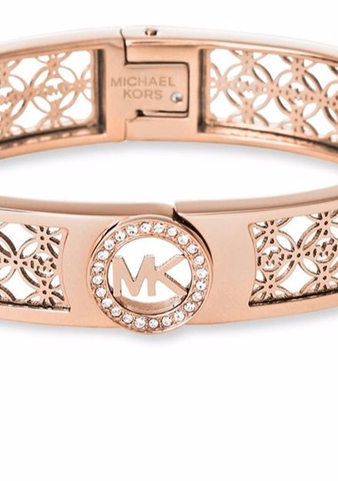 Michael Kors Michael Kors Rose Gold-Tone Open Logo Bangle Bracelet boxed
