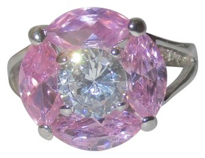 J Brand 925 Sterling Silver Round Cut Genuine Clear Zircon & Pink Topaz Gemstone RING SIZE 5 6 7 8 9 10