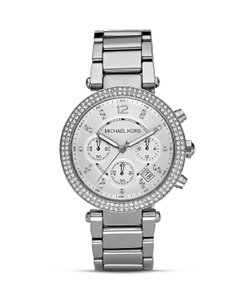 896a0b926 Michael Kors Michael Kors Parker Silver Dial Stainless Steel Chronograph  Ladies Watch