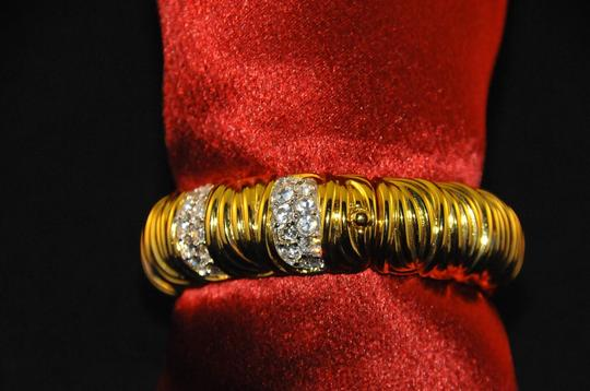 Nolan Miller Glamour Collection 18K Gold Plated Bangle Bracelet W/ Crystals New