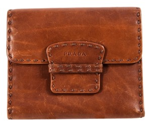 Prada Prada Brown Leather Flap Over Wallet