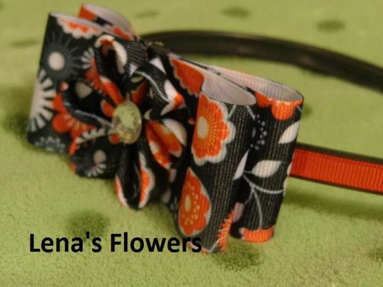 Other Handmade black,red and white flower bow on plastic headband. hair accessories.