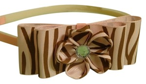 Handmade pink and brown flower bow on plastic headband,hair accessories.
