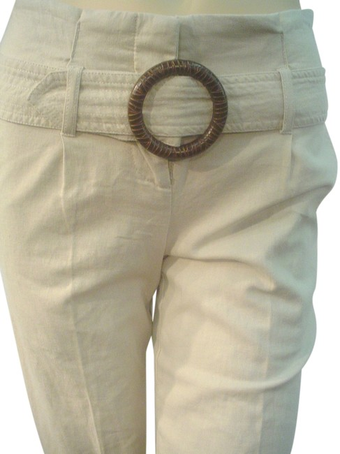 Item - Beige Cream Wiasted Belted Junior Linen Pants Size 4 (S, 27)